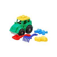 Трактор Кузнечик №2: трактор, лопатка и грабельки (ЛГ4), две большие пасочки (П4)  арт. 0213 ZP