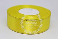 Атласная лента с люрексом, желтая, 2,5см