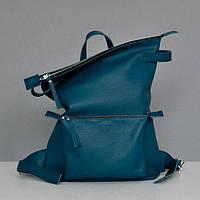 Кожаный рюкзак-сумка Voyager синий