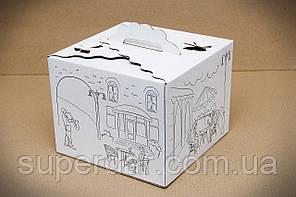 Коробка для торта, 250*250*200 мм., з принтом