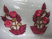 """Аплікація вишивка клейова парна """"Квіти"""" яскраво цикламен, 11 см 1пара, фото 1"""