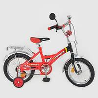 Велосипед детский 16 дюймов P 1636 красно-черный, звонок,зеркало,приставные колеса DMZ