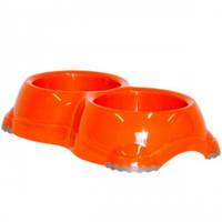 Двойная миска для собак и кошек, Moderna МОДЕРНА СМАРТИ №1, пластик, 2х330 мл, d-11 см (оранж)