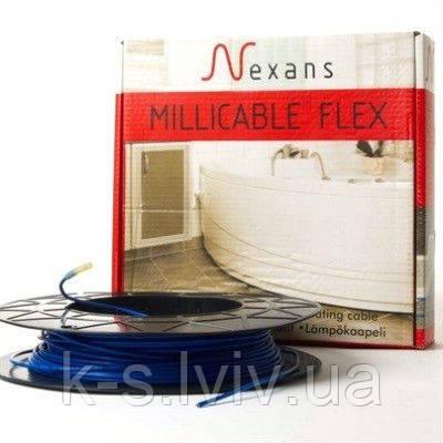 Двожильний нагрівальний тонкий кабель  Nexans Millicable Flex 15 375 W (площа обігріву, 2,0-2,5м²)