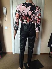 Брюки женские облегающие под кожу черные Vero Moda, фото 3