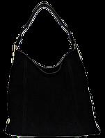 Классическая женская сумка из искусственной кожи черного цвета замш KBB-130012