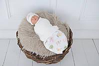 """Пеленка-кокон для новорожденного на липучках Half """"Акварель"""" от 0 до 3 мес, фото 1"""