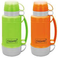 Термос пластиковый Maestro 1 л оранжевый/зеленый