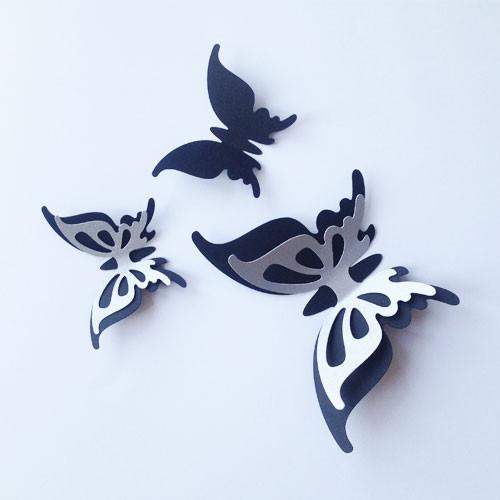 Интерьерные 3d наклейки Набор 3Д бабочек Грация (двухслойные, картонные)