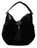 Практичная женская сумка из искусственной кожи черного цвета замш KBB-130445