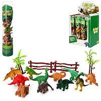 Динозавры 0015T 12шт, от 6см, деревья, ограда, в колбе 26см, 12шт в дисплее, 22,5-26,5-16см