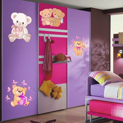 Набор виниловых самоклеющихся наклеек в детскую Мишки (медведи интерьерные наклейки для детей декор оракал)