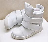 Женские ботинки на липучках белые Giuseppe Zanotti на флисе на толстых липучках