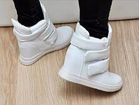 Женские модные ботинки на липучках белые Giuseppe Zanotti на флисе на толстых липучках
