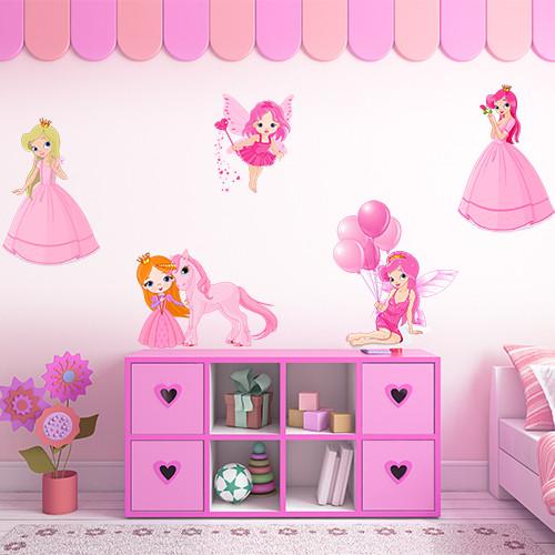 Набор интерьерных виниловых наклеек для девочки Принцессы и Феи (наклейки в детскую, декор стен и мебели)