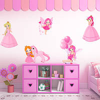 Набор интерьерных виниловых наклеек для девочки Принцессы и Феи (наклейки в детскую декор стен и мебели) матовая