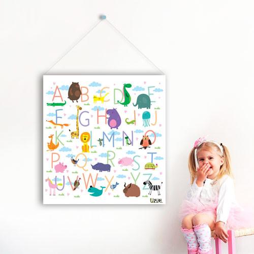 Виниловый плакат баннер Английский алфавит (наклейки детские обучающие плакаты буквы азбука для детей) матовая