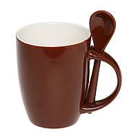 Чашка керамическая с ложкой. Цвет снаружи - коричневый. Для нанесения логотипа методом обжиговой деколи, фото 1