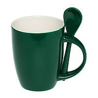 Чашка керамическая с ложкой. Цвет снаружи - зеленый. Для нанесения логотипа методом обжиговой деколи, фото 1
