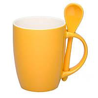 Чашка керамическая с ложкой. Цвет снаружи - желтый. Для нанесения логотипа методом обжиговой деколи, фото 1