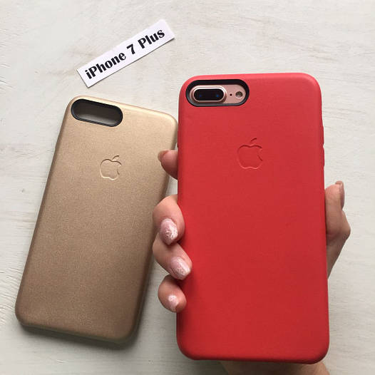 Чехол из кожи с яблоком для iPhone 7 Plus