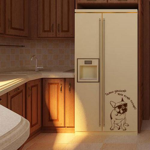 Виниловая наклейка на холодильник Голодная собака (пленка самоклеющаяся)