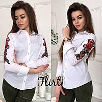 Женская модная рубашка с вышивкой на рукавах