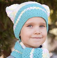 Детские вязаные шапочки и шарфики из нежнейшей флисовой пряжи