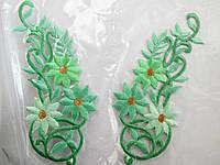 """Аплікація вишивка клейова """" Квіти"""" бірюзово-салатові, 12-13 см 1пара"""