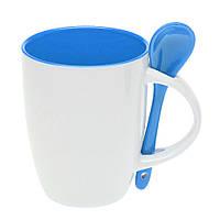 Чашка керамическая с ложкой. Цвет внутри и ложки - голубой. Для нанесения логотипа методом обжиговой деколи, фото 1