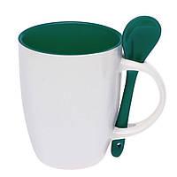 Чашка керамическая с ложкой. Цвет внутри и ложки - зеленый. Для нанесения логотипа методом обжиговой деколи