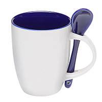 Чашка керамическая с ложкой. Цвет внутри и ложки - синий. Для нанесения логотипа методом обжиговой деколи, фото 1