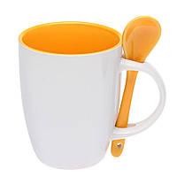 Чашка керамическая с ложкой. Цвет внутри и ложки - желтый. Для нанесения логотипа методом обжиговой деколи, фото 1