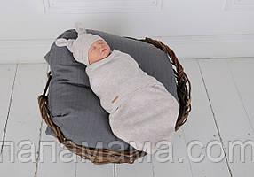 Пеленка кокон на липучках + шапочка, Wind, бежевый меланж 0-3 мес.