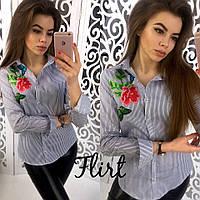 Женская шикарная рубашка с вышивкой