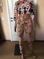Джинсы женские  коттоновые цветочный принт Coconuda