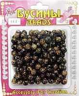 """Бусина акриловая """"Роза"""" коричневая (50г/уп)"""