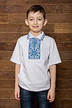Вишиванка для хлопчика Подільська бірюза – комірець-поло