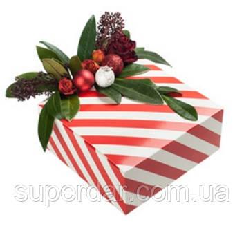 Коробка для кусочков торта, пирожных и др. изделий 165Х165Х70 мм., красно-белая