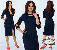 Модное синее платье с баской, колье в комплекте.  Арт-9907/41