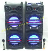 Двойная мощная акустика  DP-244 с радиомикрофонами /600W/USB/FM