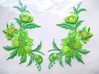 """Аплікація вишивка клейова """" Квіти"""" салатові, 12-13 см 1пара"""