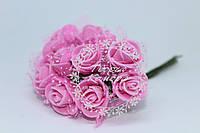 Роза из фома с фатином розовая, 2см (цена за 12 цветков)