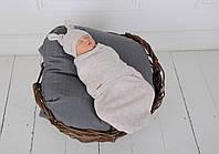 Пеленка кокон на липучках + шапочка, Wind, бежевый меланж 3-6 мес.