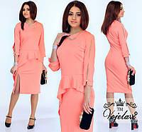 Модное персиковое  платье с баской, колье в комплекте.  Арт-9907/41