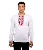 Вышитая футболка крестиком. Мужская футболка в украинском стиле с длинным рукавом.