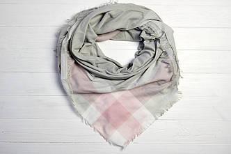 Платок Кендис серый+розовый