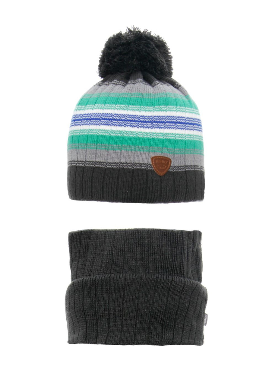 Детская зимняя вязаная шапочка с хомутом AGBO Польша