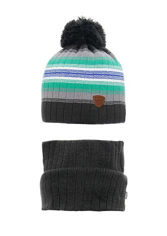 Детская зимняя вязаная шапочка с хомутом AGBO Польша, фото 2