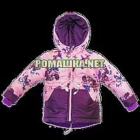 Детская весенняя, осенняя куртка-парка р. 86-92 термо с капюшоном подкладка флис 3396 Розовый